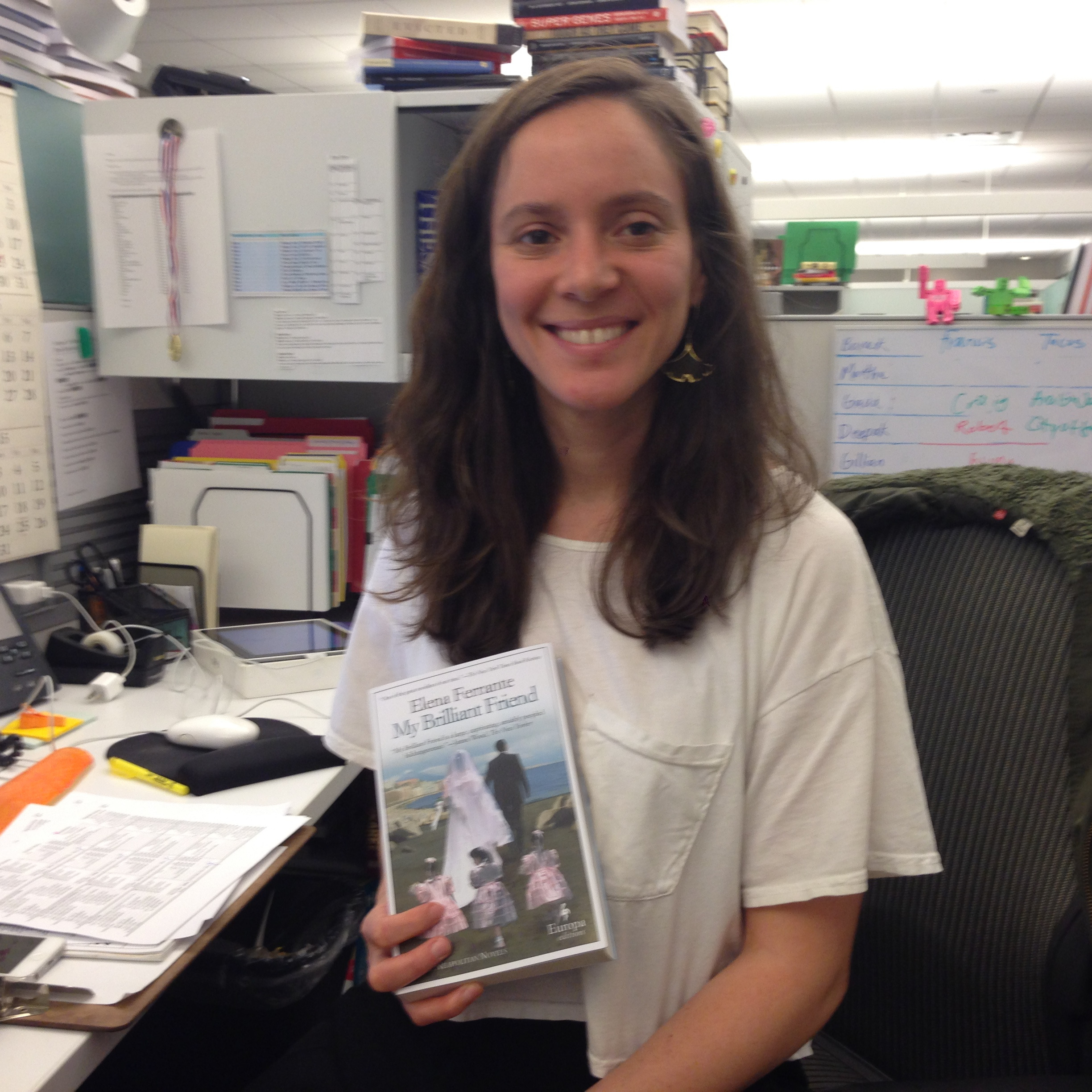 Alissa, In Crown Production, Is Reading My Brilliant Friend, By Elena  Ferrante