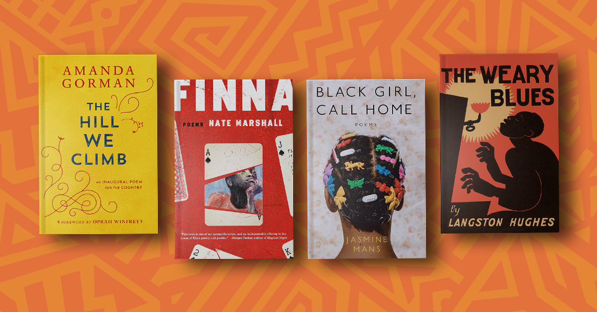 Book covers for The Hill We Climb, Finna, Black Girl, Call Home, and The Weary Blues