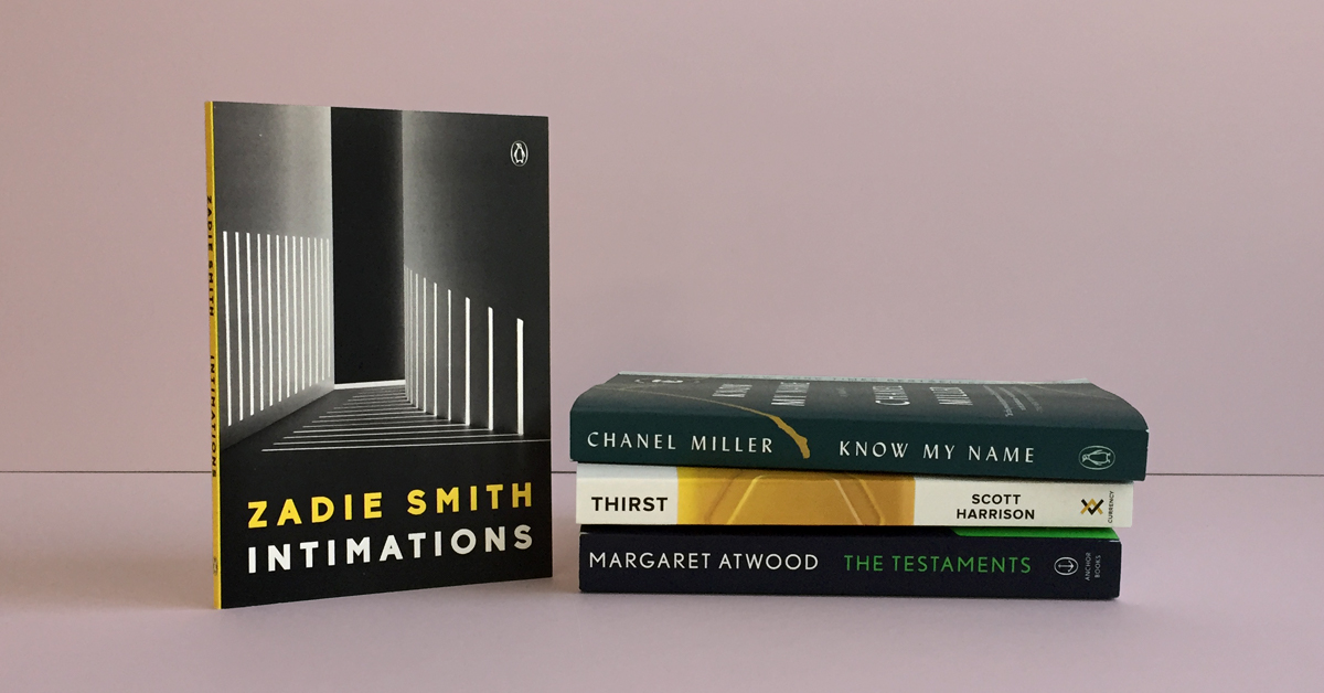 Book stack featuring Intimations by Zadie Smith