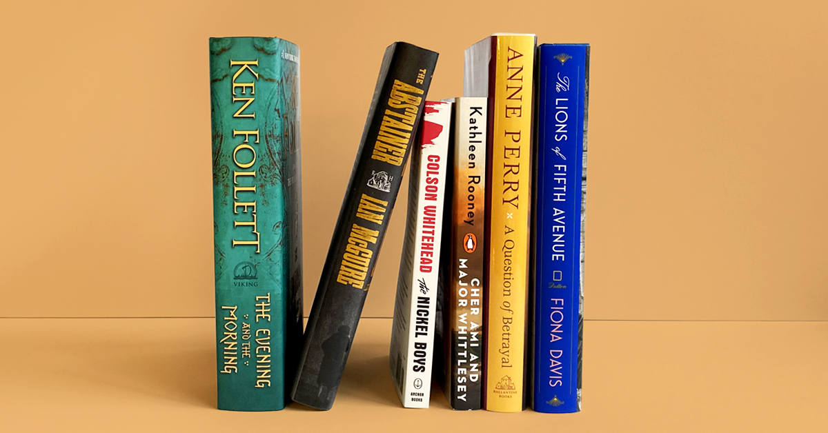 Book stack featuring historical fiction books