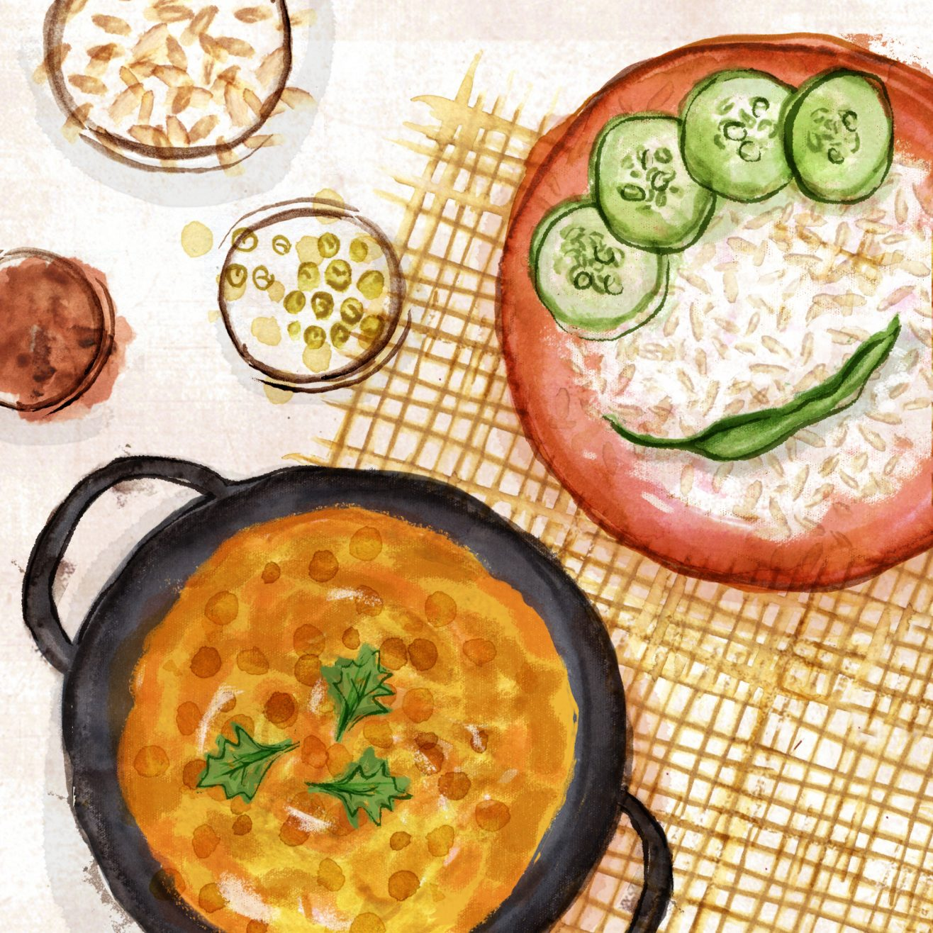 Illustration of lentils and rice with cucumbers