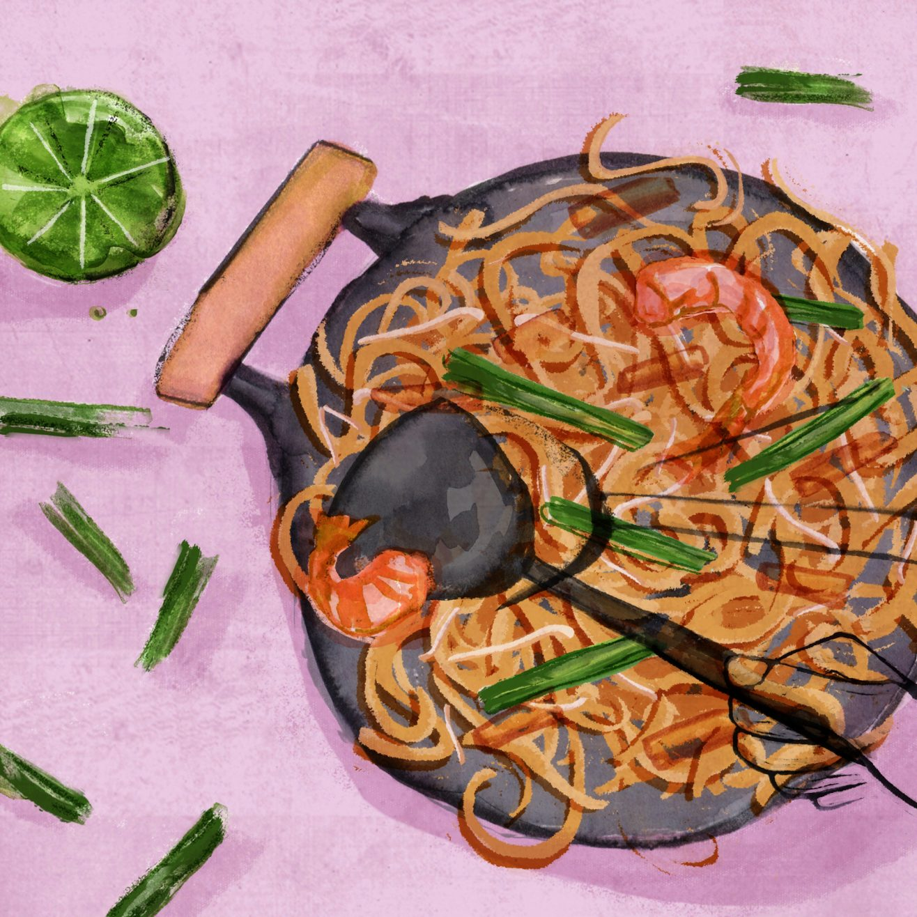 Illustration of shrimp and noodles in a wok