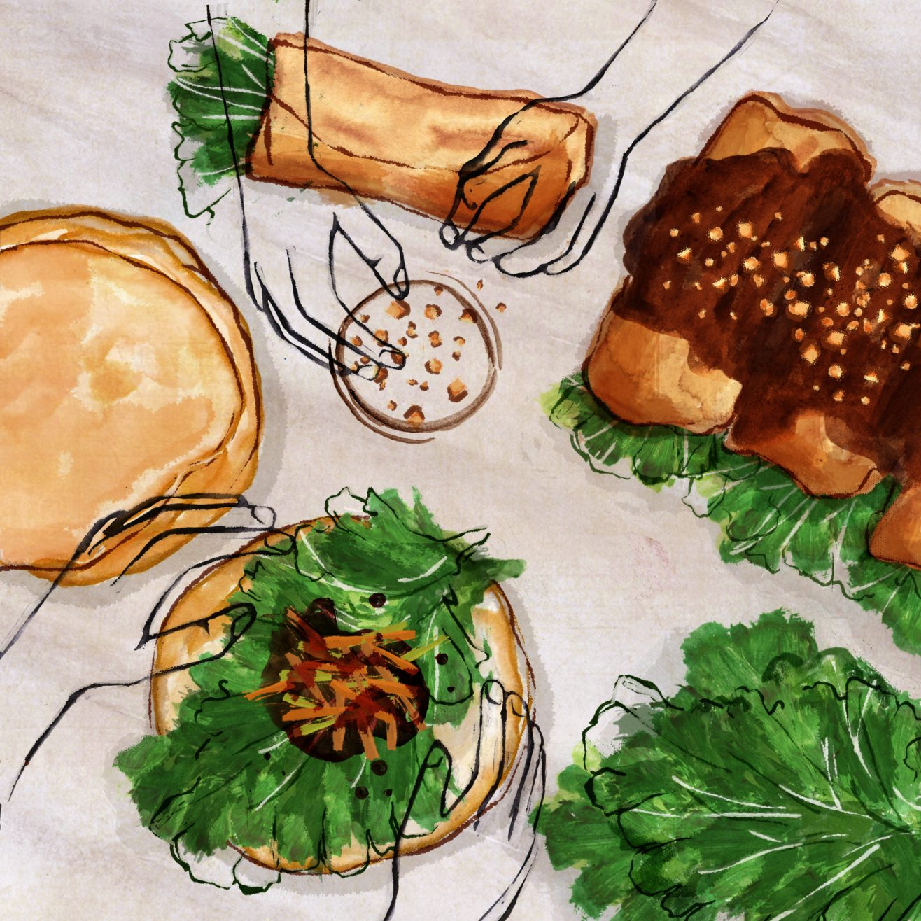 Illustration of vegetable dish with hands