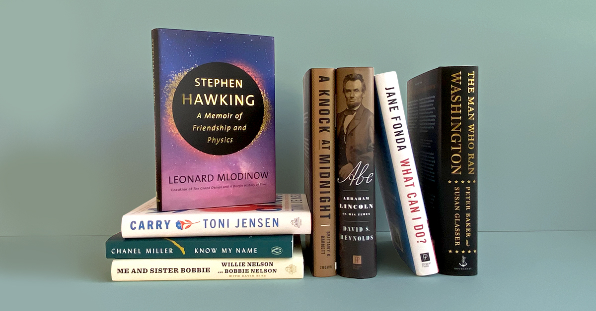 Book stack featuring Stephen Hawking, Carry, Know My Name