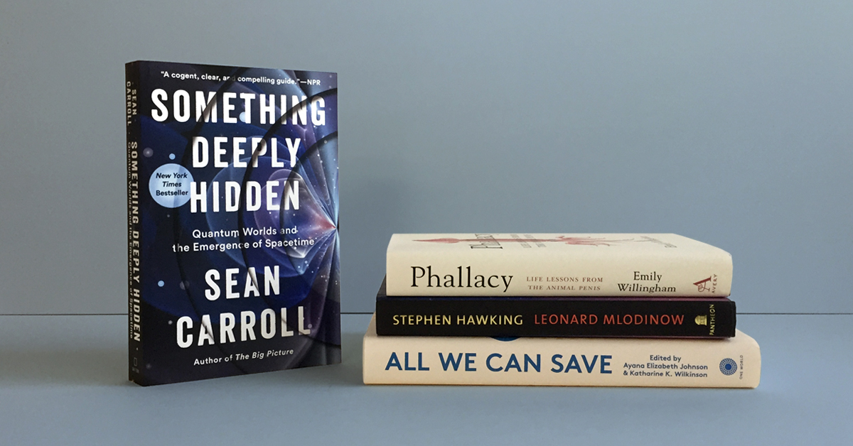 Book stack featuring Something Deeply Hidden by Sean Carroll