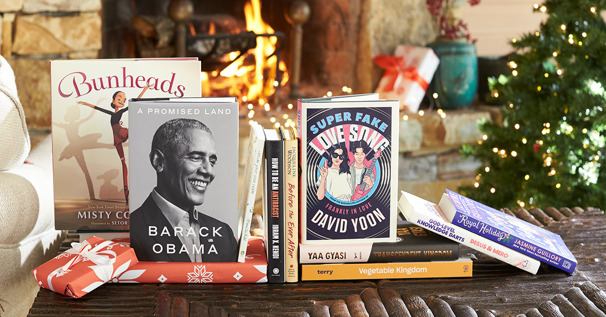 Book stack featuring books by Barack Obama, David Yoon, Misty Copeland, Yaa Gyasi, and more