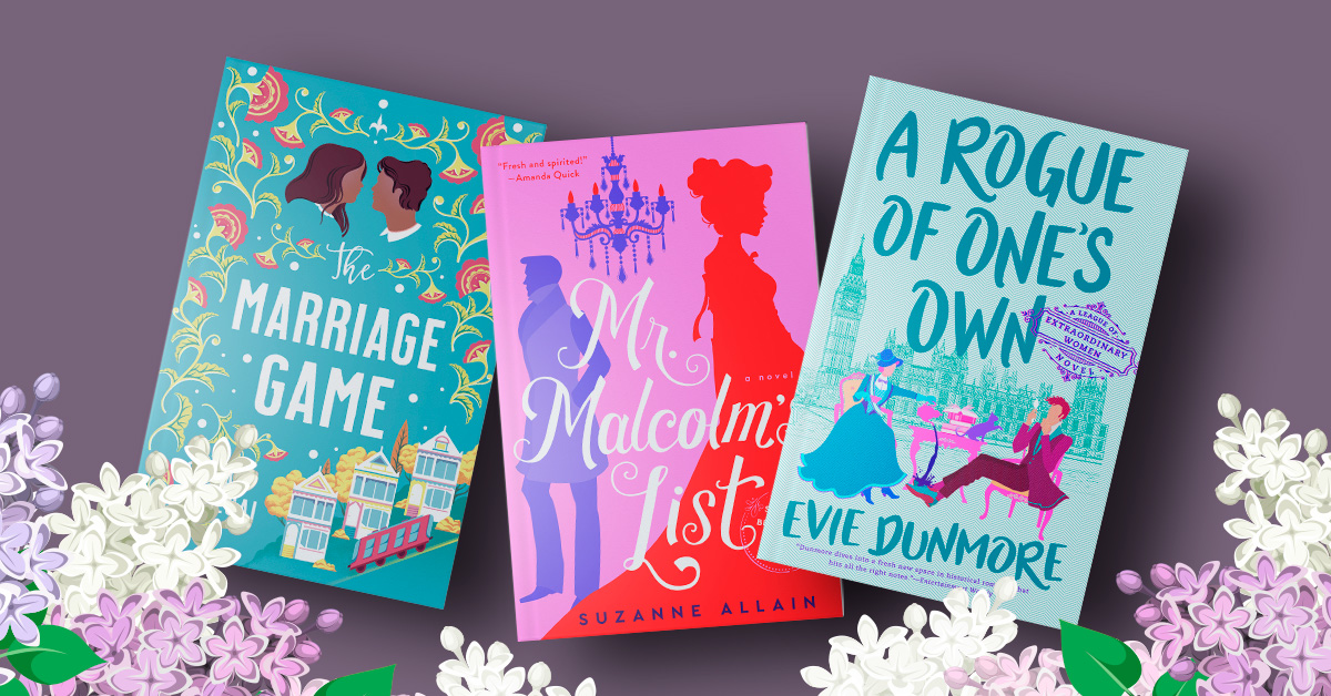 Book Covers for The Marriage Game, Mr. Malcolm's List, and A Rogue of One's Own