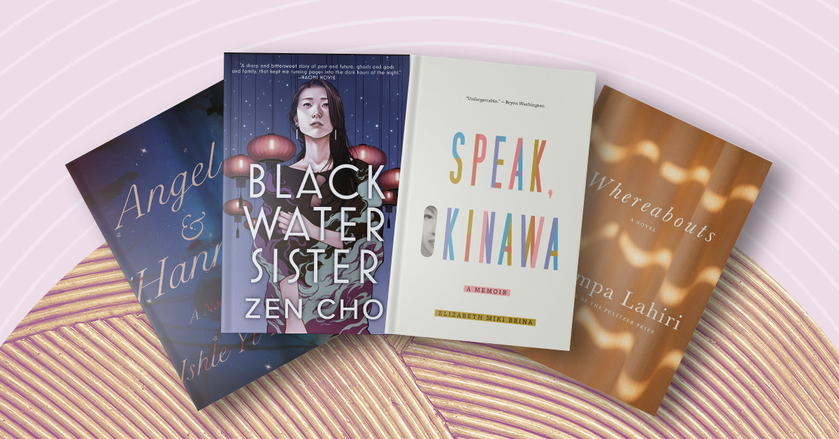 Book covers for Angel & Hannah, Black Water Sister, Speak, Okinawa, and Whereabouts