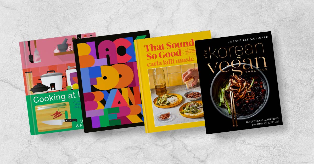 Book covers for Cooking at Home, Black Food, That Sounds So Good, and The Korean Vegan