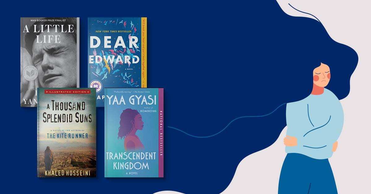 Book covers for A Little Life, Dear Edward, A Thousand Splendid Suns, Transcendent Kingdom