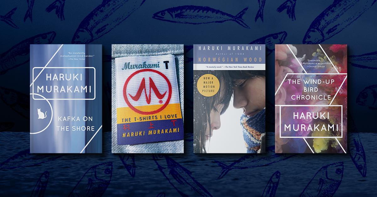 Book covers for Kafka on the Shore, Murakami T, Norwegian Wood, The Wind-Up Bird Chronicle